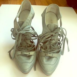 Phi blue metallic lace-up shoes heels 8.5/39